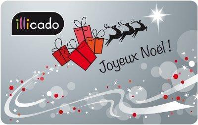 carte cadeau joyeux noël traineau argenté