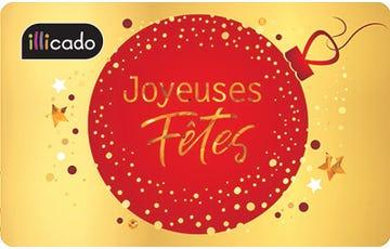 carte cadeau joyeux noël rouge et or
