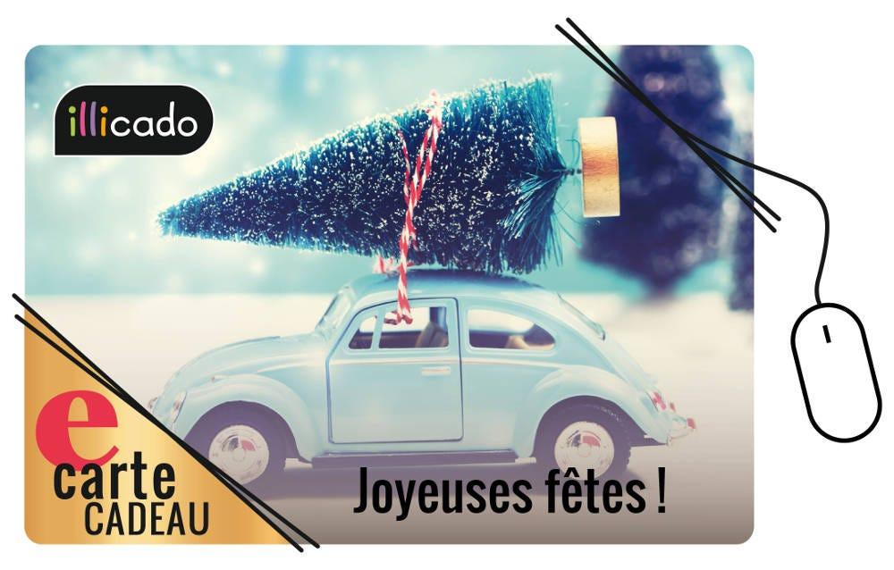 E-carte cadeau avec voiture et sapin